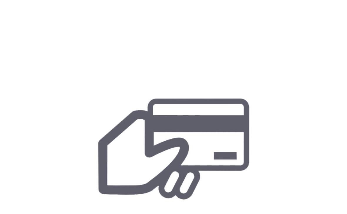 icona carta di credito in basso